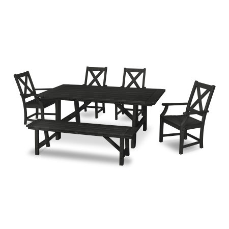 Braxton 6-Piece Rustic Farmhouse Arm Chair Dining Set with Bench in Black