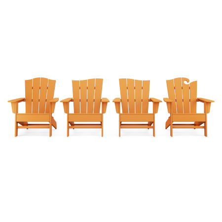 Wave Collection 4-Piece Adirondack Chair Set in Tangerine