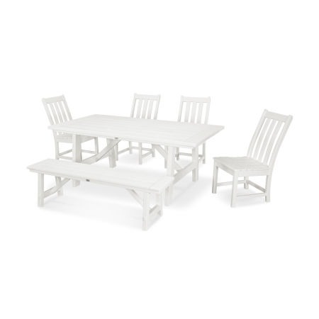 Vineyard 6-Piece Rustic Farmhouse Side Chair Dining Set with Bench in Vintage White