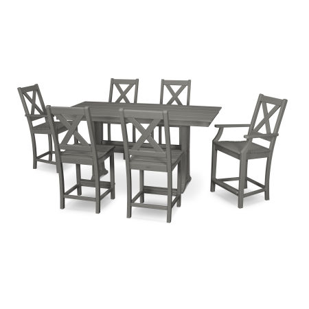 Braxton 7-Piece Farmhouse Trestle Counter Set