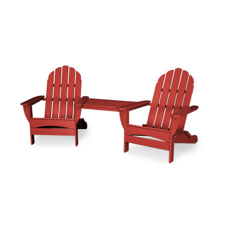 Classic Oversized Adirondack Tete-a-Tete Set in Sunset Red