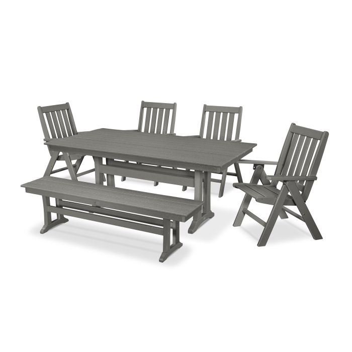 Vineyard 6-Piece Farmhouse Trestle Folding Dining Set with Bench