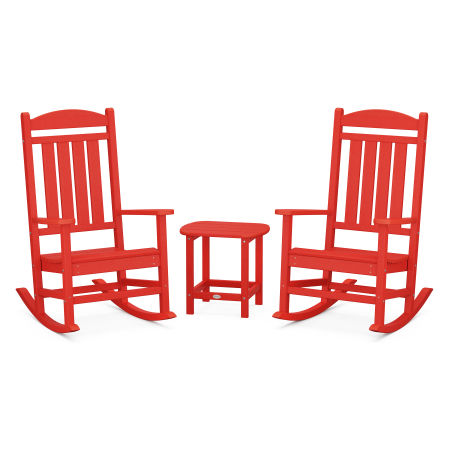 Presidential Rocking Chair 3-Piece Set in Sunset Red
