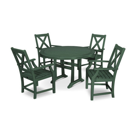 Braxton 5-Piece Nautical Trestle Arm Chair Dining Set in Green