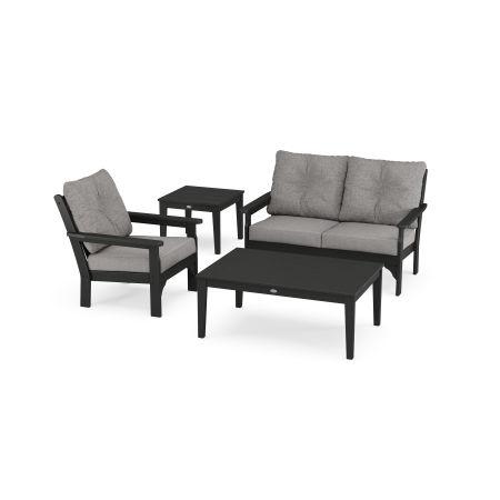 Vineyard 4-Piece Deep Seating Set in Black / Grey Mist