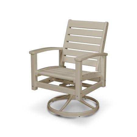 Signature Swivel Rocking Chair in Satin Tan / Sand