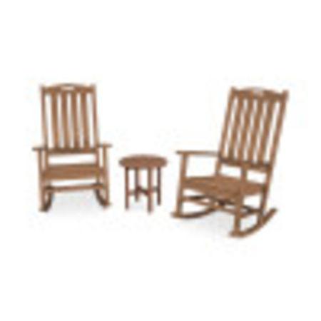 Nautical 3-Piece Porch Rocking Chair Set in Teak
