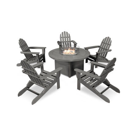 Classic Folding Adirondack 6-Piece Conversation Set with Fire Pit Table in Slate Grey