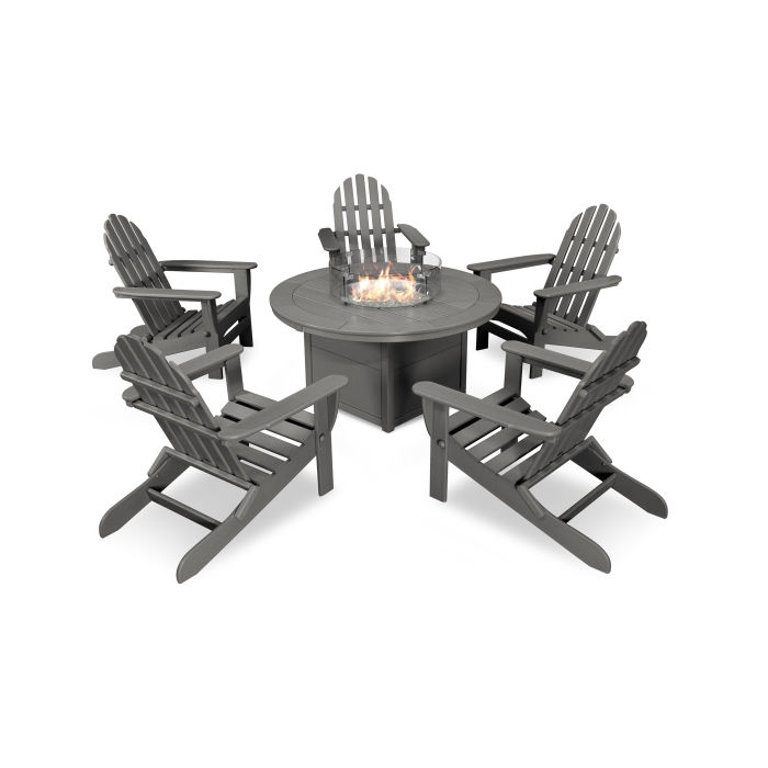 Classic Folding Adirondack 6-Piece Conversation Set with Fire Pit Table
