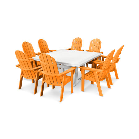 Vineyard Adirondack 9-Piece Nautical Trestle Dining Set in Tangerine / White