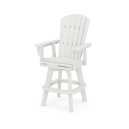 Nautical Adirondack Swivel Bar Chair in Vintage White