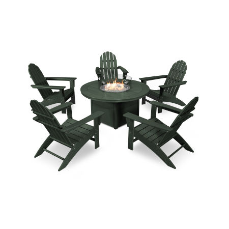 Vineyard Adirondack 6-Piece Chat Set with Fire Pit Table in Green