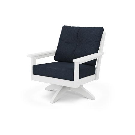 Vineyard Deep Seating Swivel Chair in Vintage White / Marine Indigo