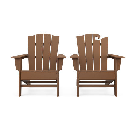 Wave 2-Piece Adirondack Chair Set with The Crest Chair in Teak