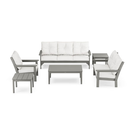 Vineyard 6-Piece Deep Seating Set in Slate Grey / Natural Linen