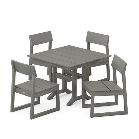 EDGE 5-Piece Farmhouse Trestle Side Chair Dining Set