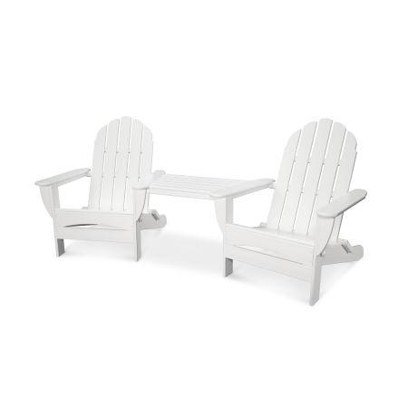 Classic Adirondack Oversized Adirondack Tête-à-Tête Set in White