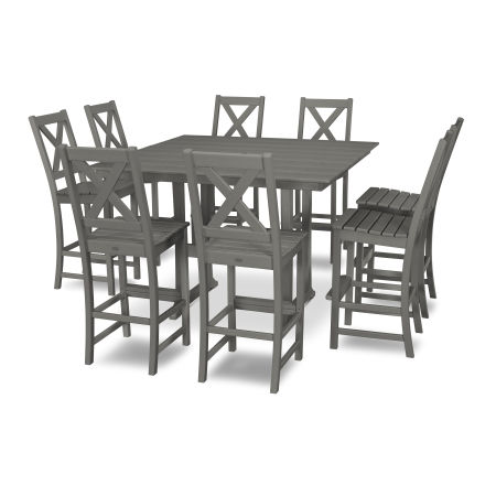 Braxton 9-Piece Farmhouse Trestle Bar Set