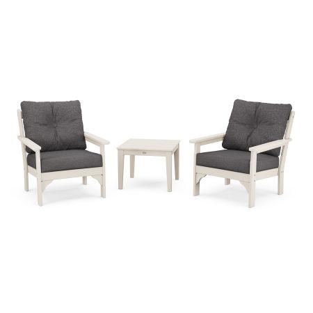 Vineyard 3-Piece Deep Seating Set in Sand / Antler Charcoal