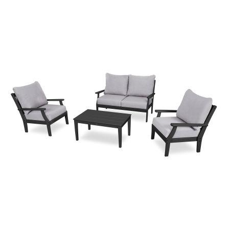 Braxton 4-Piece Deep Seating Chair Set in Black / Granite