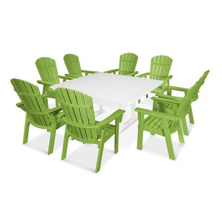 Nautical Adirondack 9-Piece Trestle Dining Set in Lime / White