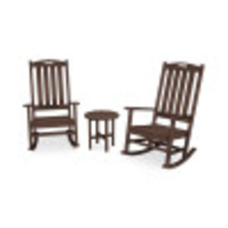 Nautical 3-Piece Porch Rocking Chair Set in Mahogany