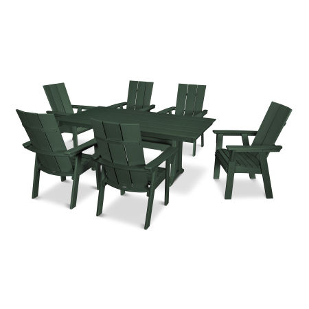 Modern Adirondack 7-Piece Farmhouse Dining Set in Green
