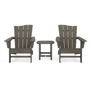 Wave 3-Piece Adirondack Chair Set in Vintage Finish