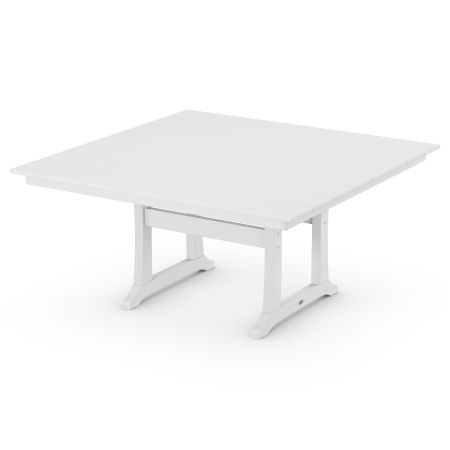 "59"" Square Dining Table in White"