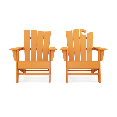 Wave 2-Piece Adirondack Set with The Wave Chair Left in Tangerine
