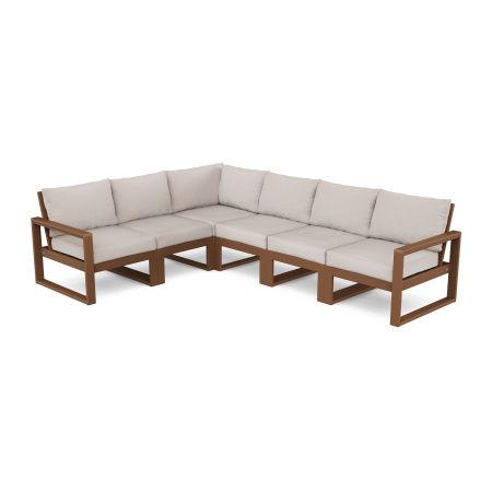 EDGE 6-Piece Modular Deep Seating Set in Teak / Dune Burlap