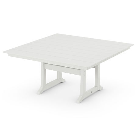 """Farmhouse 59"""" Dining Table in Vintage White"""