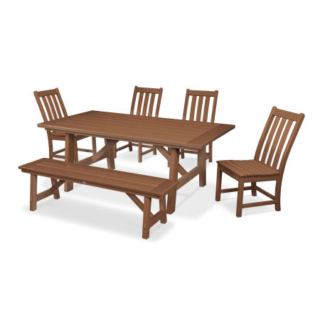 Vineyard 6-Piece Rustic Farmhouse Side Chair Dining Set with Bench in Teak