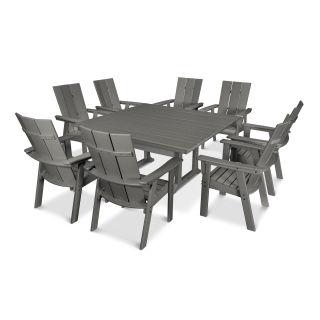 Modern Curveback Adirondack 9-Piece Farmhouse Trestle Dining Set