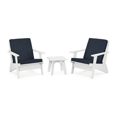 Riviera Modern Lounge 3-Piece Set in White / Marine Indigo