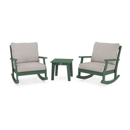 Braxton 3-Piece Deep Seating Rocker Set in Green / Weathered Tweed