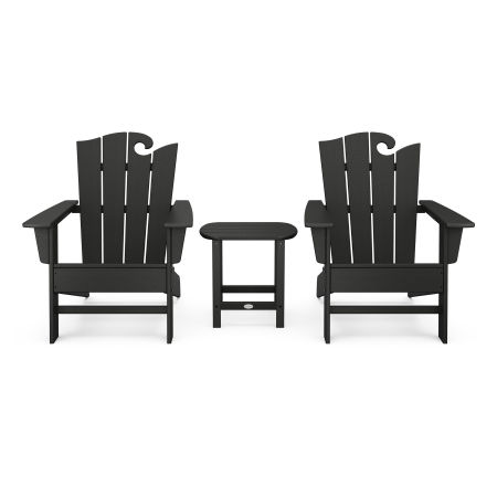 Wave 3-Piece Adirondack Set with The Ocean Chair in Black