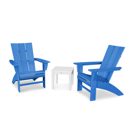 Modern 3-Piece Curveback  Adirondack Set in Pacific Blue / White