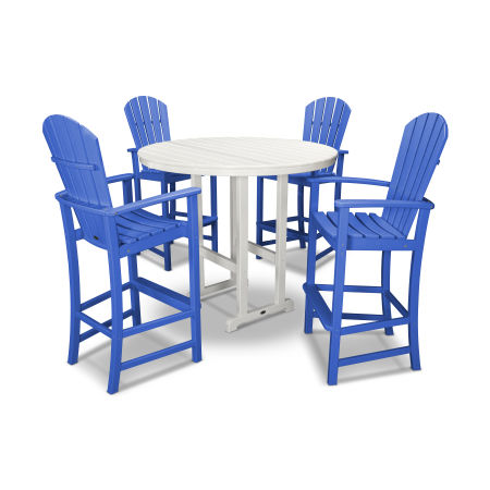 Palm Coast 5-Piece Bar Set in Pacific Blue / White