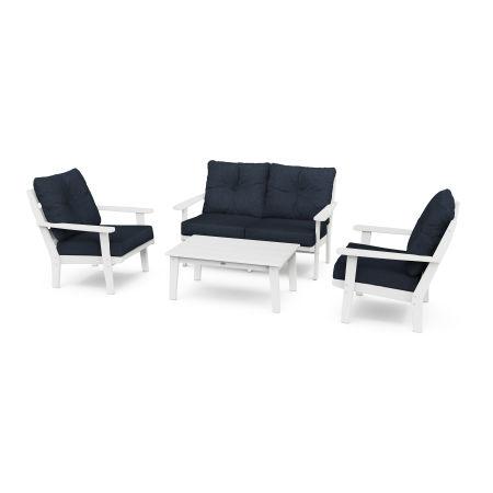 Lakeside 4-Piece Deep Seating Set in White / Marine Indigo