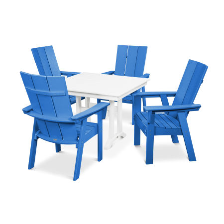 Modern Adirondack 5-Piece Farmhouse Dining Set in Pacific Blue / White