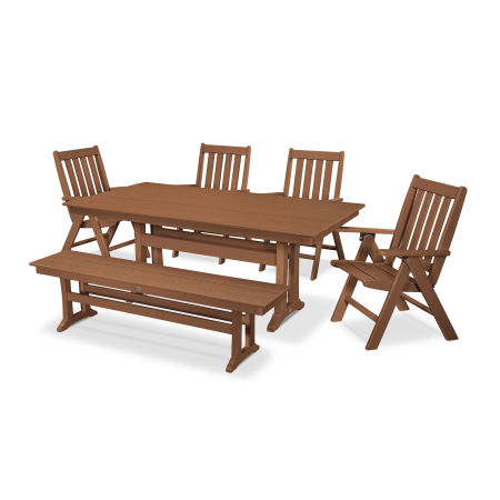 Vineyard 6-Piece Farmhouse Folding Dining Set with Bench in Teak