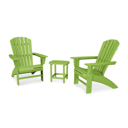 Nautical 3-Piece Curveback Adirondack Set in Vintage Lime