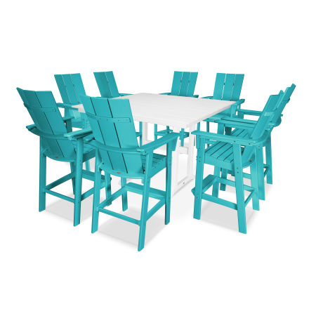 Modern Adirondack 9-Piece Farmhouse Bar Set in Aruba / White