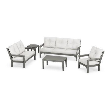 Vineyard 5 Piece Deep Seating Set in Slate Grey / Natural Linen