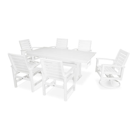 Signature 7 Piece Dining Set in Satin White / White