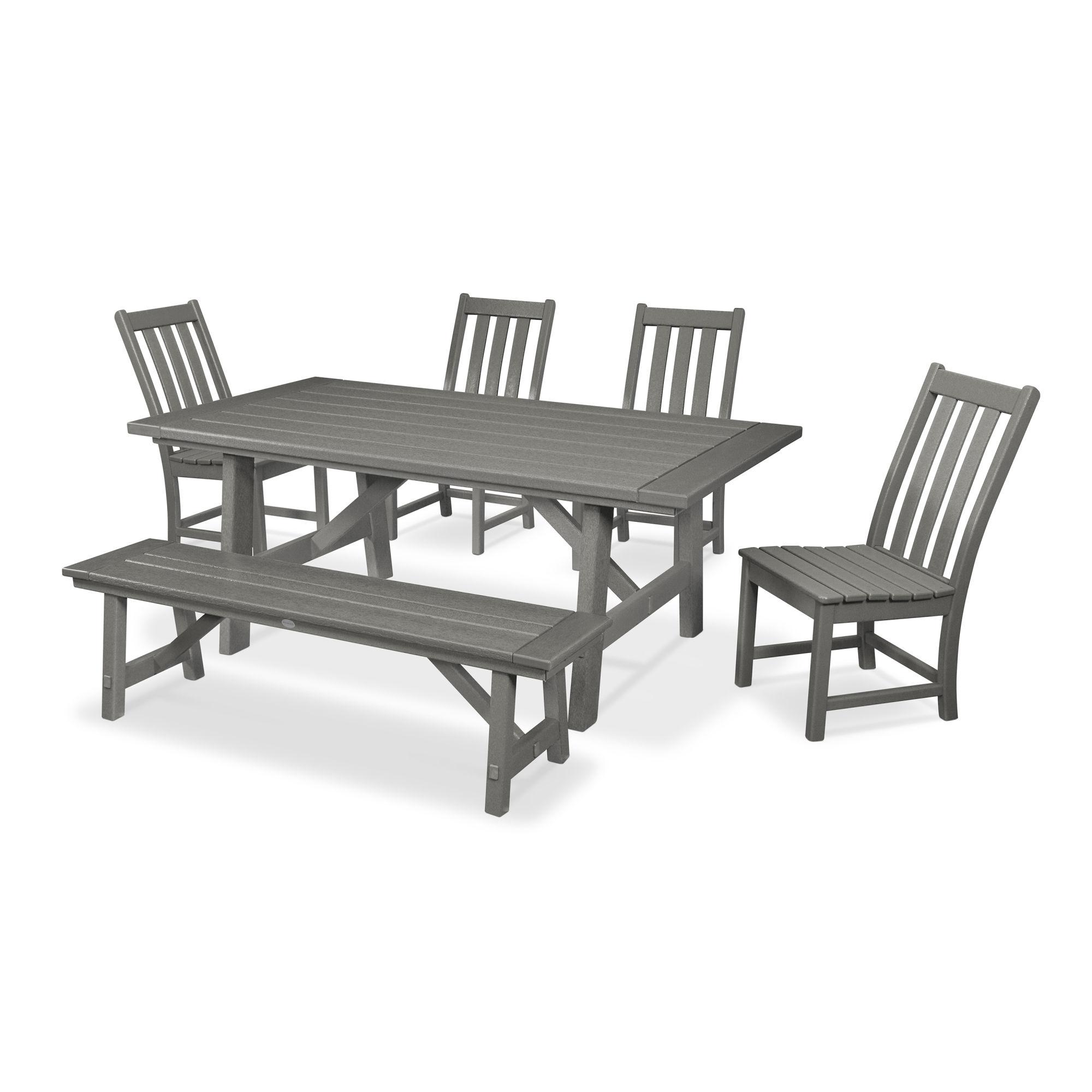 Polywood Vineyard 6 Piece Rustic Farmhouse Side Chair Dining Set
