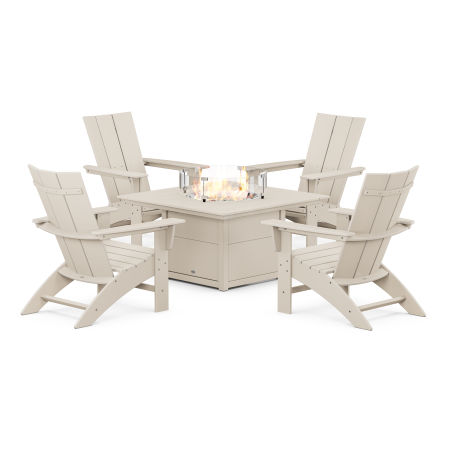 Modern Curveback Adirondack 5-Piece Conversation Set with Fire Pit Table in Sand