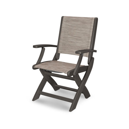 Coastal Folding Chair in Vintage Coffee / Onyx Sling