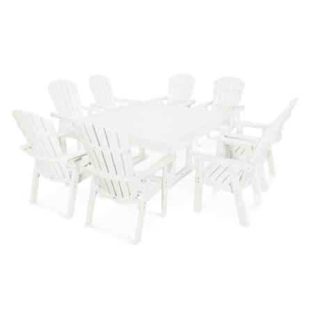 Nautical Adirondack 9-Piece Trestle Dining Set in White